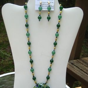 Necklace Duo. Green Jade and Murano Style Glass